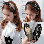 韓國髮箍頭飾簡約清新甜美復古寬邊刺繡花網紗兔耳朵頭箍淑女髮卡 萬聖節服飾九折