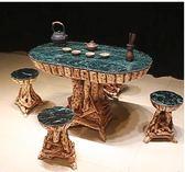 典藏根藝杜鵑根雕茶幾實木茶臺餐桌戶外大理石茶桌咖啡桌 送六凳 【新品推薦】