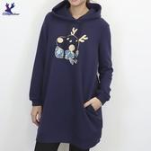 【秋冬新品】American Bluedeer - 刺繡長版帽T 二色