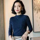 網紗內搭長袖T恤修身時尚立領上衣(四色M-3XL可選)-設計家 ZY658