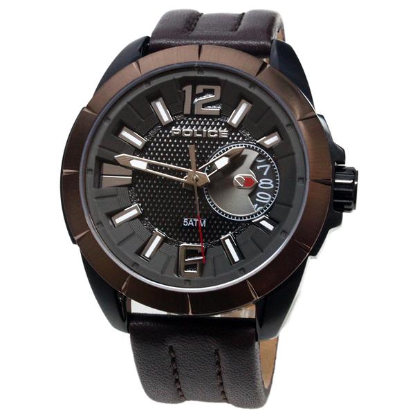 【萬年鐘錶】POLICE  Pitcher Men  黑+金棕殼 黑錶面 咖啡皮帶 男錶  防水 大錶徑 50mm 15240JSBBN-02