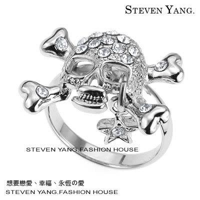 戒指 正白K飾「骷髏星墜」甜美龐克風