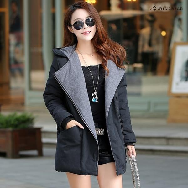 保暖外套--禦寒羅紋袖口斜拉鍊暗扣雙口袋連帽鋪棉外套(黑.卡其XL-5L)-J302眼圈熊中大尺碼◎
