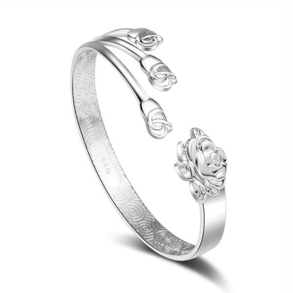 鍍銀三朵玫瑰花手環開口活口 花語花開富貴手鐲 女《小師妹》ps282