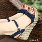 楔形鞋鬆糕涼鞋女波西米亞厚底高跟女鞋一字帶坡跟涼鞋 芊惠衣屋