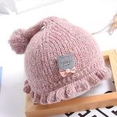 嬰兒帽子毛帽秋冬季女寶寶公主毛線帽嬰幼兒純棉針織帽