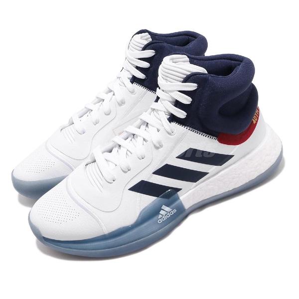 adidas 籃球鞋 Marquee Boost Hype Pack 白 深藍 紅 BOOST中底 男鞋 運動鞋【PUMP306】 EH2451