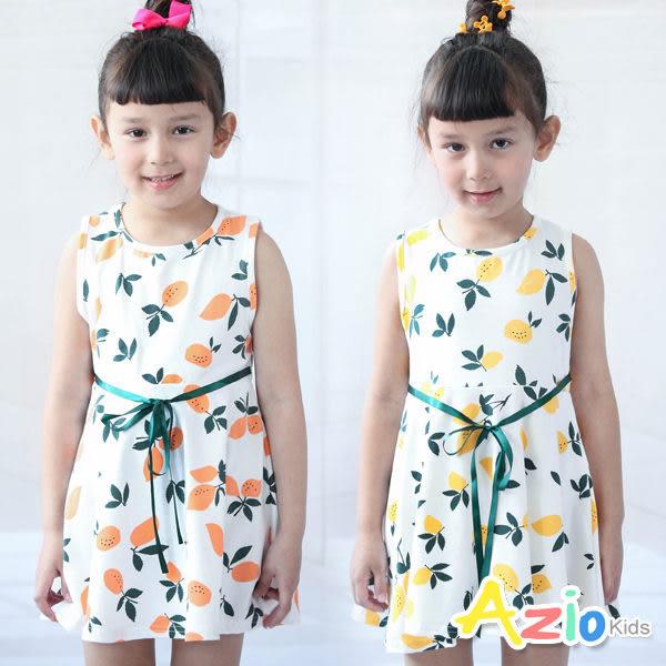 Azio 女童 洋裝 滿版檸檬印花緞帶綁帶無袖洋裝(共2色)