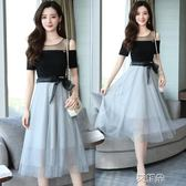 連身裙女夏  韓版中長款顯瘦蕾絲ins超火的裙子       艾維朵