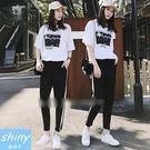 【V8145】shiny藍格子-學院洋氣.黑白配色短袖上衣長褲兩件式套裝
