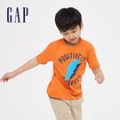 Gap男童創意印花圓領短袖T恤550114-亮橘色
