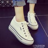 內增高小白鞋春季女2019新款百搭韓版學生休閒板鞋厚底帆布鞋子女-Ifashion