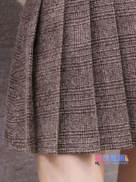 半身裙 秋冬新品學院風格子短裙女正韓時尚百褶裙高腰大尺碼a字半身裙【降價兩天】