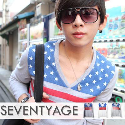 ∥柒零年代∥Sensibility【N7604J】韓版視覺潮流限定美國國旗星星配色V領棉料長袖上衣(LE-TA028)