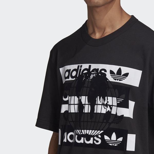 【現貨】Adidas R.Y.V. 男裝 上衣 短袖 休閒 純棉 地球 黑【運動世界】FM2253