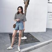 2018新款夏季ins超火的牛仔短褲女韓版百搭高腰寬鬆學生闊腿熱褲   初見居家