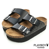 PLAYBOY 新潮概念 亮蔥拼接雙釦帶拖鞋-黑