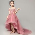 兒童晚禮服公主裙過年春節女童生日拖尾小花童模特走秀鋼琴演出 快速出貨