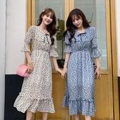 依二衣 洋裝 夏季清新氣質雪紡連身裙度假沙灘裙復古顯瘦印花連身裙