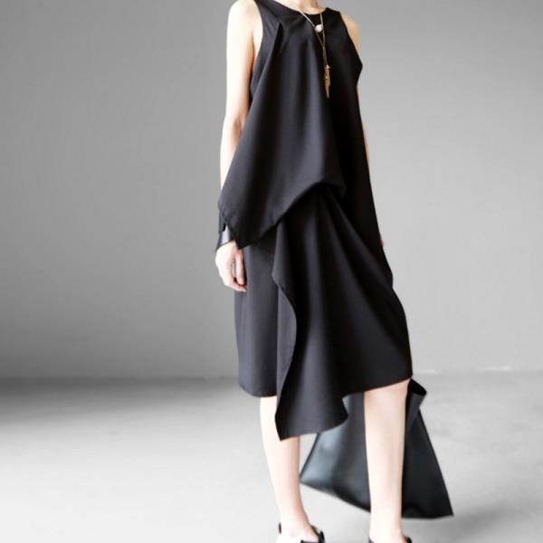 【南紡購物中心】《D Fina 時尚女裝》 A字顯瘦 層次感不規則剪裁無袖洋裝 (3色)