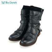 【Bo Derek 】仿褶皺環扣拉鍊短靴-黑