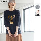 女 T恤 7分袖上衣 墊紗 印花 免運費 日本品牌【coen】