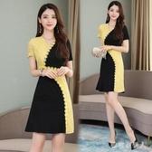 2020夏季新款韓版拼色短袖大碼蕾絲連身裙女裝氣質小個子A字洋裝潮 yu12937【棉花糖伊人】