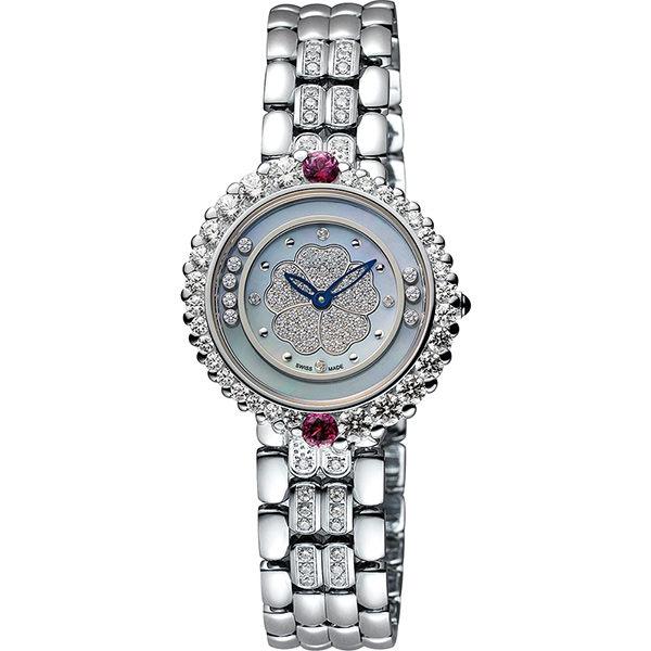 Ogival 愛其華 戀山茶花系列時尚腕錶-藍色珍珠貝x銀/30mm 305-15DLW藍面