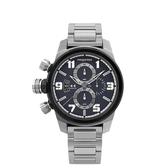 elegantsis精密狙擊風格三環不鏽鋼錶女款/深灰藍x黑框