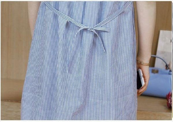 漂亮小媽咪 韓國短袖洋裝 【D8599】 條紋 拼接 布蕾絲 短袖 孕婦裝 連身裙 孕婦洋裝