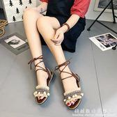 綁帶涼鞋 夏季新款民族風流蘇毛球度假風波西米亞綁帶平跟繫帶平底涼鞋 科炫數位