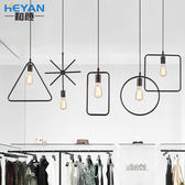 一件85折-複吊燈 古吧台幾何形吊燈書房美式餐廳個性極簡鐵藝裝飾工業風北歐WY