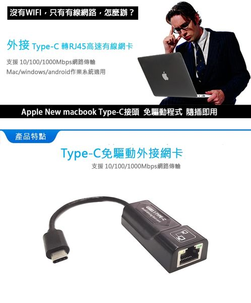 USB3.1 Type C 轉RJ45高速有線網卡