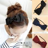 ☆* 魔衣子 *☆【Q60A60】百搭氣質緞帶大蝴蝶結髮箍。黑/藍/紅