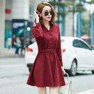 中大尺碼~優雅單排釦綁腰長袖洋裝(XL~5XL)