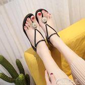 夏季新款涼鞋女夏波西米亞沙灘鞋夾腳平底平跟羅馬百搭學生潮花間公主