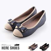 [Here Shoes]休閒鞋-MIT台灣製 蝴蝶結水鑽造型 平底娃娃鞋 包鞋 OL通勤鞋-KT9037