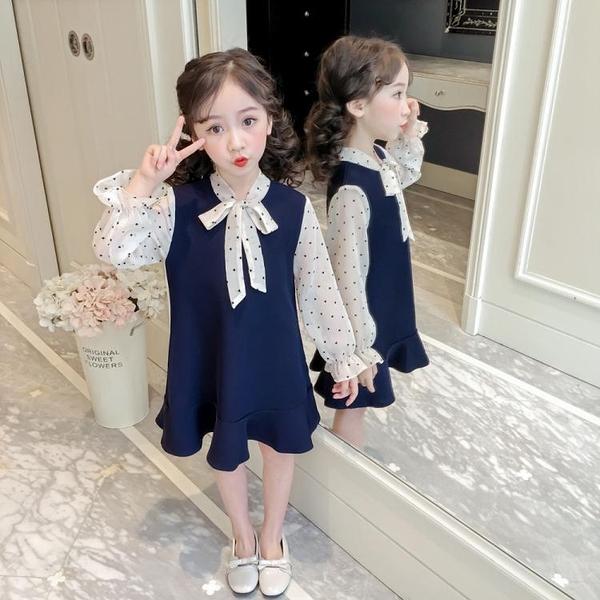 女童春裝洋裝韓版洋氣公主裙蕾絲雪紡裙子 淇朵市集