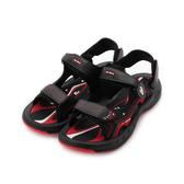 皮爾卡登 磁扣彈力運動涼鞋 黑紅 男鞋 鞋全家福