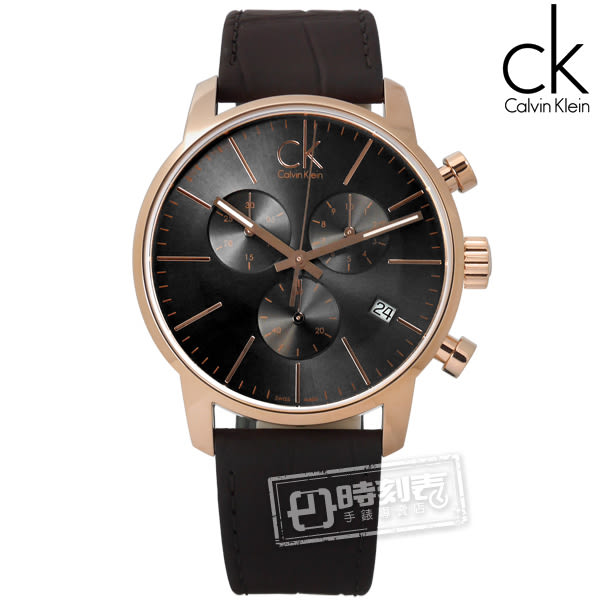 CK / K2G276G3 / CITY優雅光環三環計時皮革手錶 深灰x玫瑰金框x深褐 43mm★ 加購鋼化玻璃膜 ★