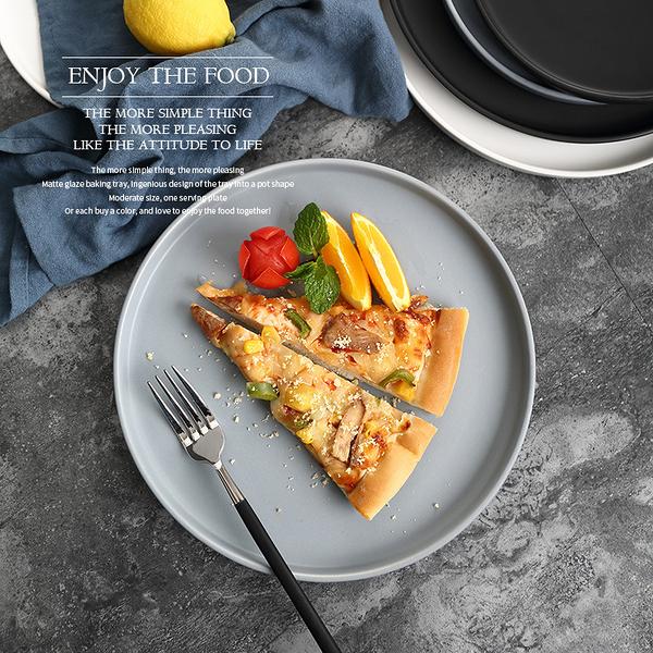 [20cm] 北歐陶瓷盤 西餐 餐盤 盤子 沙拉盤 牛排盤 圓形陶瓷餐盤 甜點盤 平底盤【RS910】