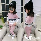 中小童時尚潮流拼接蕾絲衛衣 休閑褲兩件套 春秋季甜美褲套裝