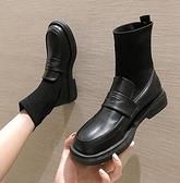 馬丁靴彈力襪子靴女年新款連襪靴秋季馬丁鞋子單靴春秋靴子瘦瘦短靴 JUST M