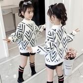 兒童毛衣女童水貂絨毛衣2020新款秋冬裝洋氣兒童裝大童女孩加絨加厚打底衫 新品