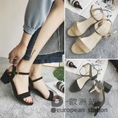 涼鞋/女夏季中跟一字扣帶粗跟中跟鞋黑色女鞋「歐洲站」
