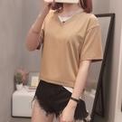 XL-4XL胖妹妹短袖T恤~921#胖MM200斤加肥大碼女裝假兩件上衣t恤短袖潮5F044愛尚布衣