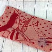BRAND楓月 HERMES 愛馬仕 紅色 喀什米爾羊毛 印地安人毛毯 #90*90 毯子 禦寒