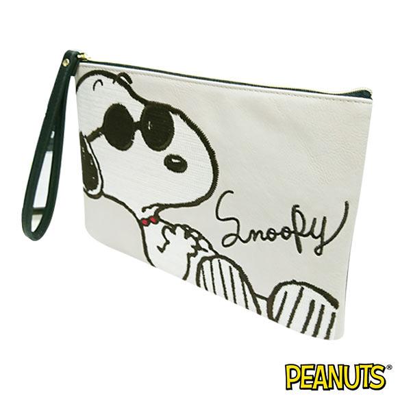 【日本進口正版】史努比 Snoopy 淺灰款 刺繡 中型 收納包 化妝包 PEANUTS - 885292