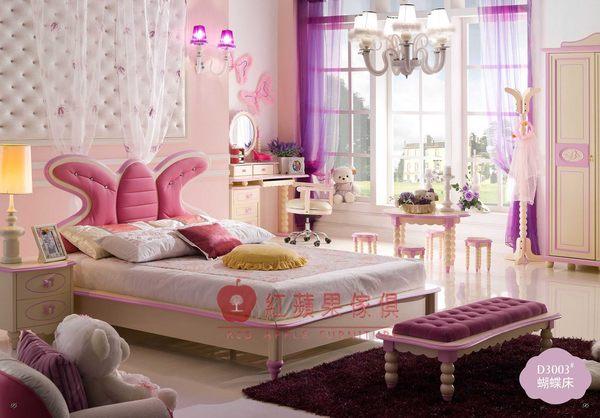[紅蘋果傢俱] D3003 兒童系列 兒童床組 兒童家具 兒童床 公主床 蝴蝶床 造型床 雙人床 五尺 床頭櫃