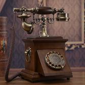 家用電話實木電話機仿古復古旋轉撥號電話美式家用座機電話 igo爾碩數位3c